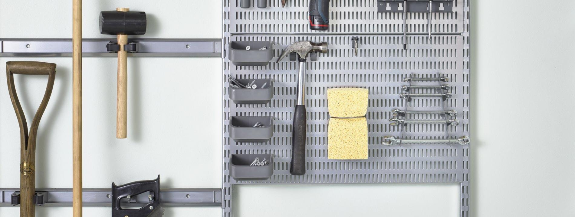 Rangement petite profondeur garage et bureau elfa
